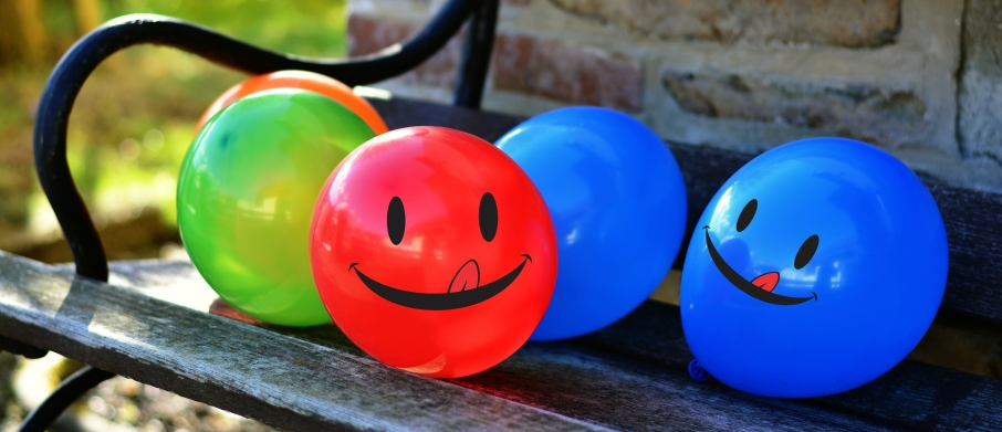 balloons on a bench